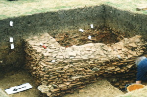 Excavating a Medieval tile kiln (Photo: RHFAG)