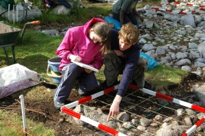 Students planning North Cairn, Newbarns