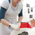 Conserving a leather shoe from the hoard - image: ORNC