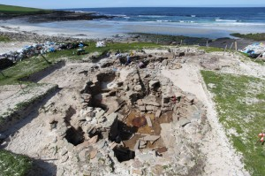 Overlooking the Neolithic 'Grobust House', Noltland's best-preserved structure. Image: Historic Scotland