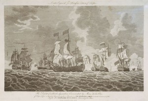 The Defeat of a French Squadron Commanded by Monsr de la Clue off Cape Lagos on the 18th August 1759 by a Squadron of His Majesty's Ships under the Command of the Right Honble Edward Boscawen, Admiral of the Blue