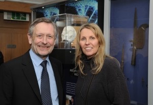 Sir Peter Soulsby (City Mayor of Leicester) and Philippa Langley (Richard III Society) at the opening, in front of a model of Richard's skull. Image: Colin Brooks, Courtesy University of Leicester