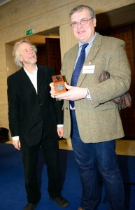 Julian Richards (of Meet the Ancestors) presents ULAS' Richard Buckley with the prestigious 'Research Excavation of the Year' award for the Search for Richard III, at the Current Archaeology Awards