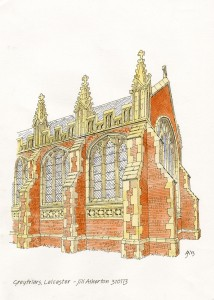 A reconstruction of Grey Friars church, where Richard III was buried. Credit - Jill Atherton