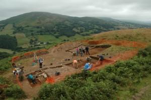 The roundhouse under excavation at Moel y Gaer, Bodfari.