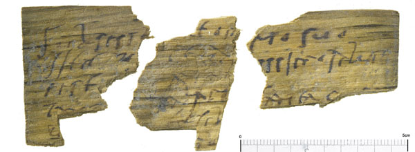 Fragment from a letter written in ink on a wood writing tablet. Tablets of this sort were used for everyday correspondence and contain fascinating fragments of information about Roman life from hopping lists to party invitations.  Image: MOLA