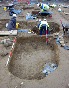 Excavations underway on the mass graves at the Kilkenny Workhouse site by Margaret Gowen & Co. Ltd in 2006. The graves contained bodies in coffins stacked one on top of the other.  Credit: Margaret Gowen & Co. Ltd
