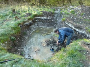 Springs often create excellent preservation conditions – but they also make for rather waterlogged excavations, as the team found when they returned to the site this Easter. Credit: Fred Westmoreland