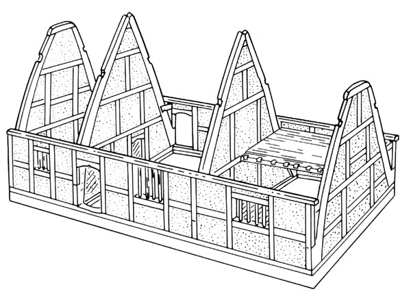 Peasant houses in midland england current archaeology for Cruck frame house plans