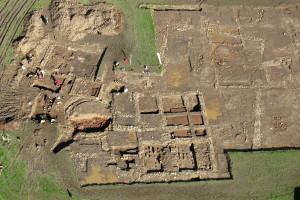 2012 Excavation showing 2 bath house phases. Simon Ledingham.