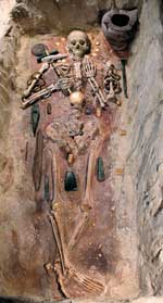 A very early elite burial from a cemetery at Varna on the Black Sea coast of Bulgaria.  Photo: Regional Museum of History at Varna