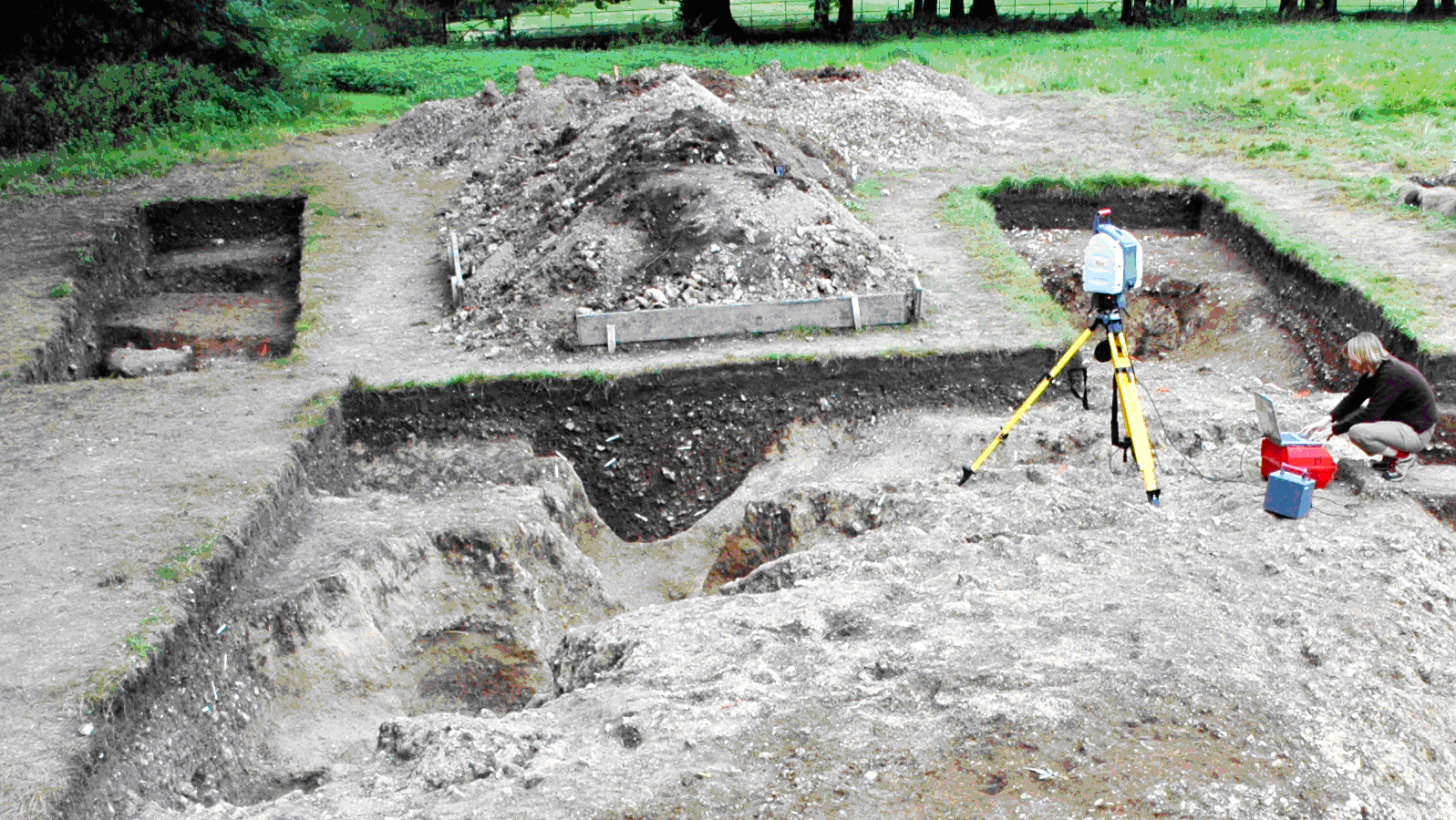 Dr Kate Welham, a lecturer at the University of Bournemouth laser scans the bluestone holes/Aerial-Cam info@aerial-cam.co.uk