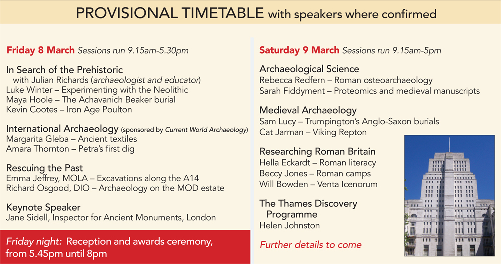 Current Archaeology Live 2019 timetable