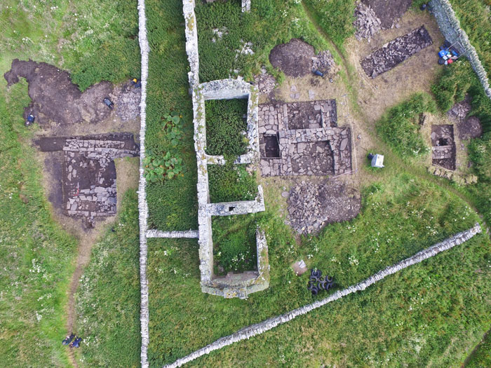 An aerial view of the Skaill Farmstead excavation.  The recently uncovered Viking-Age hall can be seen on the left.